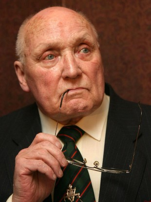Gusty Spence pictured on 3 May 2007, after reading a statement declaring that the UVF was putting its weapons beyond use.