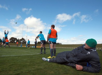 Paul O'Connell watches line-out training.