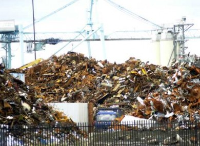 File photo of scrap metal being processed at Dublin Docks.