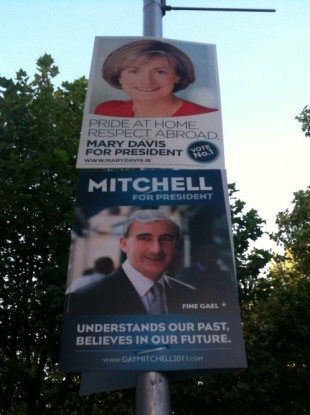 Posters in Dublin city centre show the presidential slogans