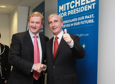 Gay Mitchell gives the thumbs-up as Taoiseach Enda Kenny launches his campaign.
