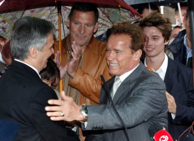 Schwarzenegger is welcomed by Austrian chancellor Werner Faymann to his home town today.