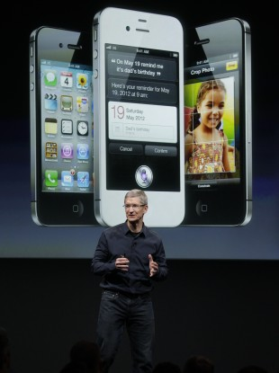 Apple CEO Tim Cook at the launch of the new iPhone 4S