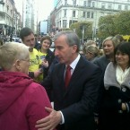 Greeting voters on O'Connell Street. Image: @GayMitchell2011