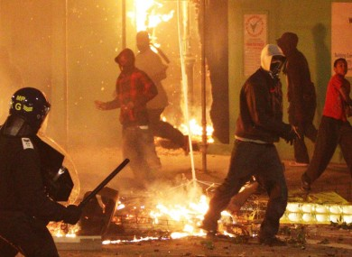 Riot police clash with youths in Tottenham, north London in August