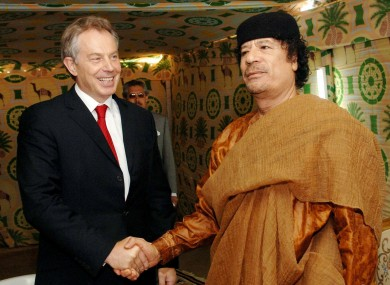 Gaddafi with former British PM Tony Blair. The overthrown Libyan leader wanted to be like the Queen.