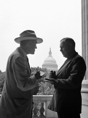 In the shadow of the Capitol dome in Washington, September 3, 1943, an Associated Press reporter encounters the mythical news source who recounts and interprets events in Washington (File)