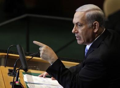 Benjamin Netanyahu at the United Nations last month