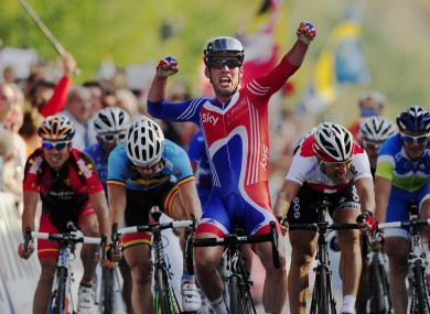 Cavendish crosses the line to take last month's World Championships road race.