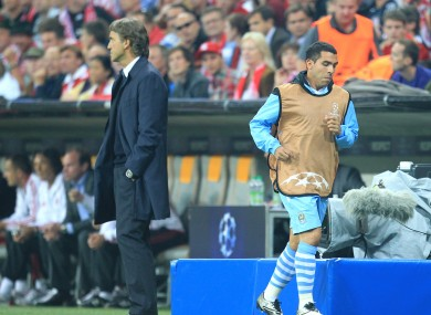 Tevez and Mancini on that memorable night in Munich... the other one.