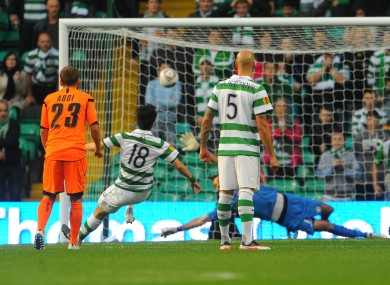 Sung-Yeung Ki scores for Celtic against Udinese.