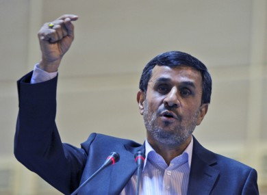 Iranian president Mahmoud Ahmadinejad speaking in Tehran last week