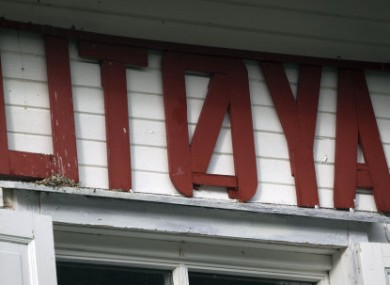 A sign on a building on Utoya island in Norway, where