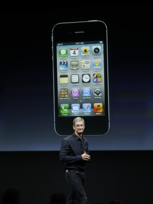 Tim Cook at the launch of the iPhone 4s in California today.