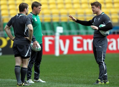 Gordon D'Arcy, Ronan O'Gara and Brian O'Driscoll in training  last week.