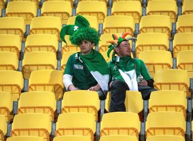 Irish fans dejected in Wellington on Saturday.