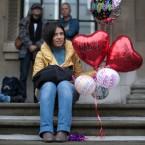 A Beatles fan waits outside the Marylebone Town Hall (Jeff Moore/Empics)