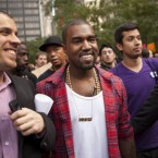 Musician Kanye West visits the Occupy Wall Street protests yesterday in New York. (AP Photo/Andrew Burton/PA)