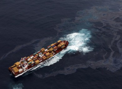 The Rena pictured struck aground on a reef off the coast of New Zealand last week.