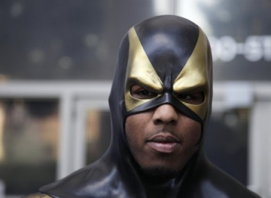 Phoenix Jones/Ben Fodor appearing outside court yesterday.