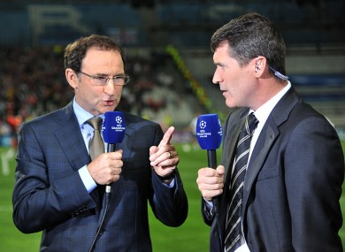 Martin O'Neill and Roy Keane (right) working for ITV at the Arsenal game last night.