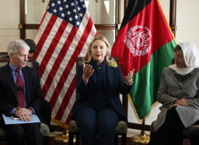Hillary Clinton speaking at a civil society roundtable discussion in Kabul today.