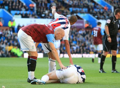 Shane Long was injured during West Brom's clash with Aston Villa.