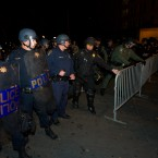 Police form a barricade to keep Occupy Wall Street protesters from entering 14th Street at Broadway in Oakland last night. (AP Photo/Darryl Bush)