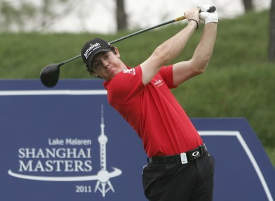 Rory McIlroy tees off on the third hole during the first round of the Lake Malaren Shanghai Masters.