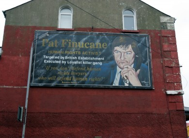 Republican mural of the late Pat Finucane on the Falls Road, Belfast in 2004.