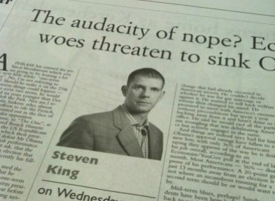 A Steven King column from Wednesday's Irish Examiner is among those alleged to include plagiarised content.
