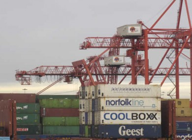 File photo of commercial freight carriers at Dublin Docks.