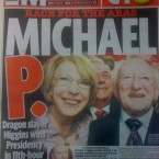 It's P for President on the front of the Mirror.