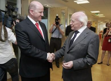Sean Gallagher (L) and Michael D Higgins