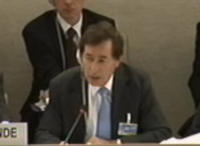 Justice minister Alan Shatter addressing the UN's UPR in Geneva last week.