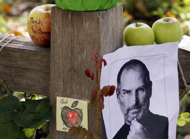 A memorial outside Steve Jobs' house in Palo Alto, California