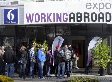 Queues for a previous Working Abroad Expo earlier this year