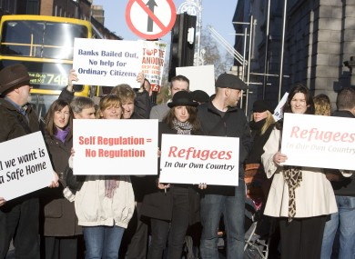 Residents of Priory Hall protesting outside the Dáil yesterday