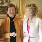 Former president Mary Robinson with President Mary McAleese.