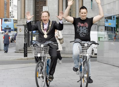 Former Lord Mayor of Dublin Gerry Breen on a Dublin Bike in 2010 to celebrate the millionth journey