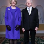 President Michael D Higgins and wife Sabina at their new home for the next seven years, Áras An Uachtaráin. Image: Photocall Ireland/GIS