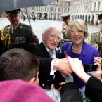 Greeting wellwishers in the courtyard at Dublin Castle after his inauguration ceremony. Image: Paul Faith/PA Wire