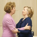 McAleese meets Hillary Clinton during the Clinton's visit to Ireland in October 2009.