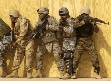 File photo of Iraqi, Kurdish and US forces during a training exercise.