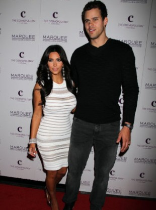Kim Kardashian and Kris Humphries pictured at Kardashian's birthday party last week