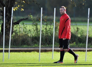 Wayne rooney at training in Manchester yesterday.