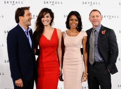 Skyfall cast members Javier Bardem, Berenice Marlohe, Naomie Harris and Daniel Craig.