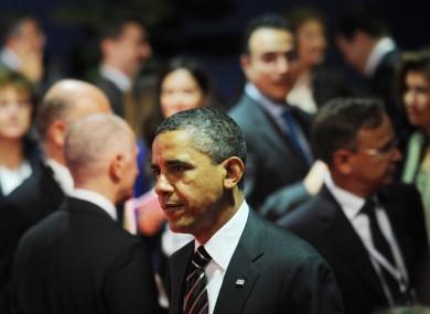 US president Barack Obama arrives at the summit yesterday