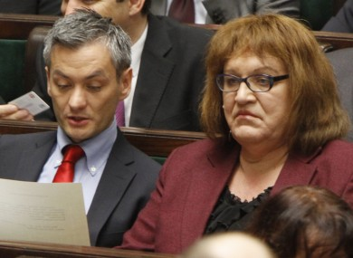 Robert Biedron and Anna Grodzka sit together at today's first sitting of the new Polish parliament. Biedron is the first openly gay Polish MP; Grodzka is the first transsexual member.