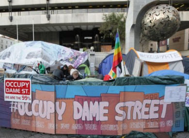 The Occupy Dame Street camp outside the Central Bank.
